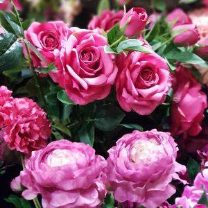 fake pink flowers