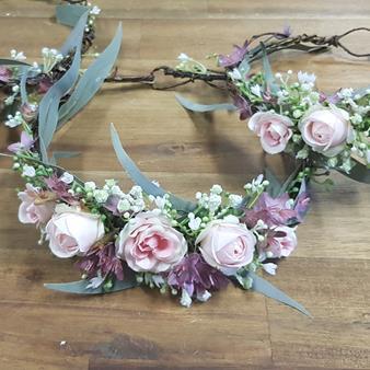 pink native flower crown